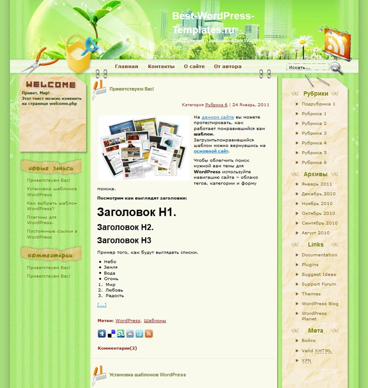 Healthy Lifestyle WordPress шаблон