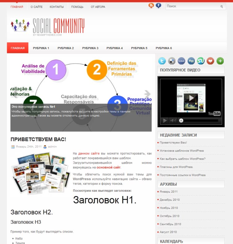SocialCommunity WordPress шаблон