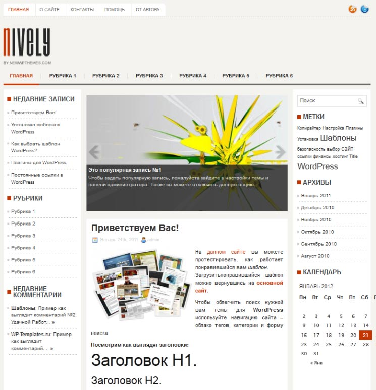 Nively WordPress шаблон