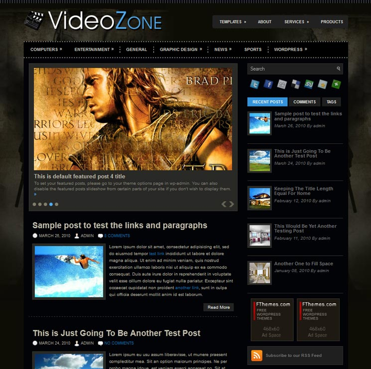 VideoZone WordPress шаблон