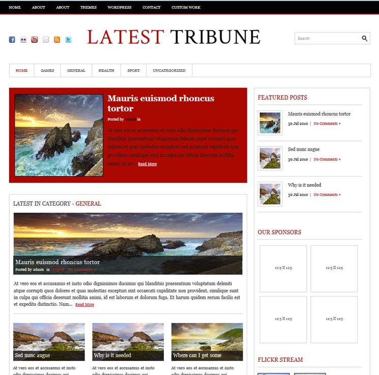 LatestTribune WordPress шаблон