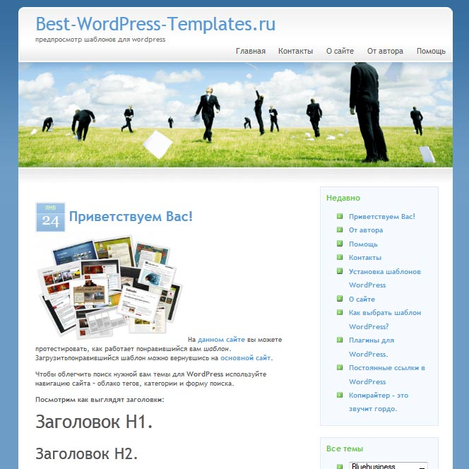 Bluebusiness WordPress шаблон