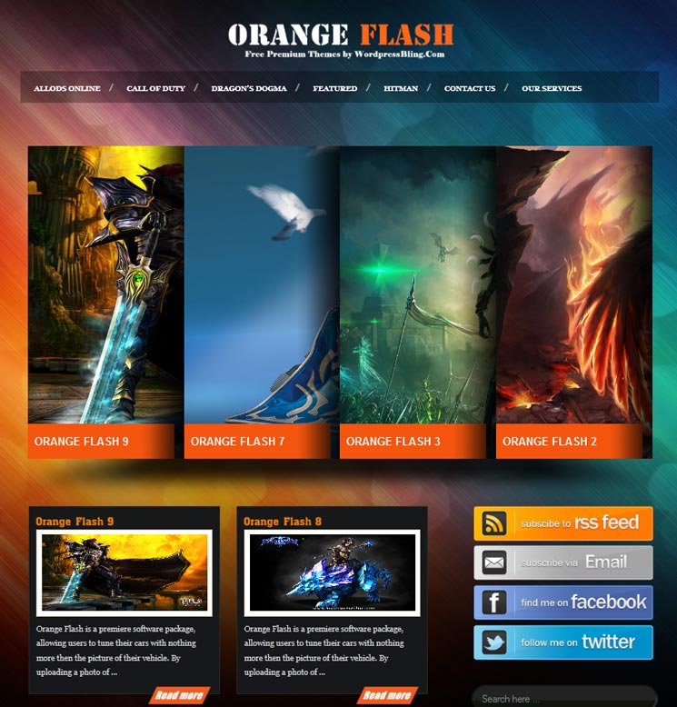 Orange Flash WordPress шаблон