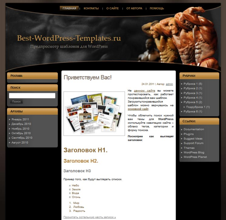 Bodybuilding theme WordPress шаблон