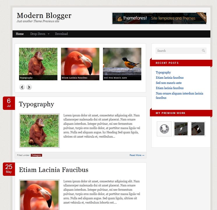 Modern Blogger WordPress шаблон