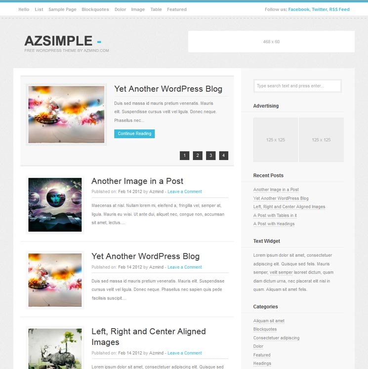 Azsimple WordPress шаблон