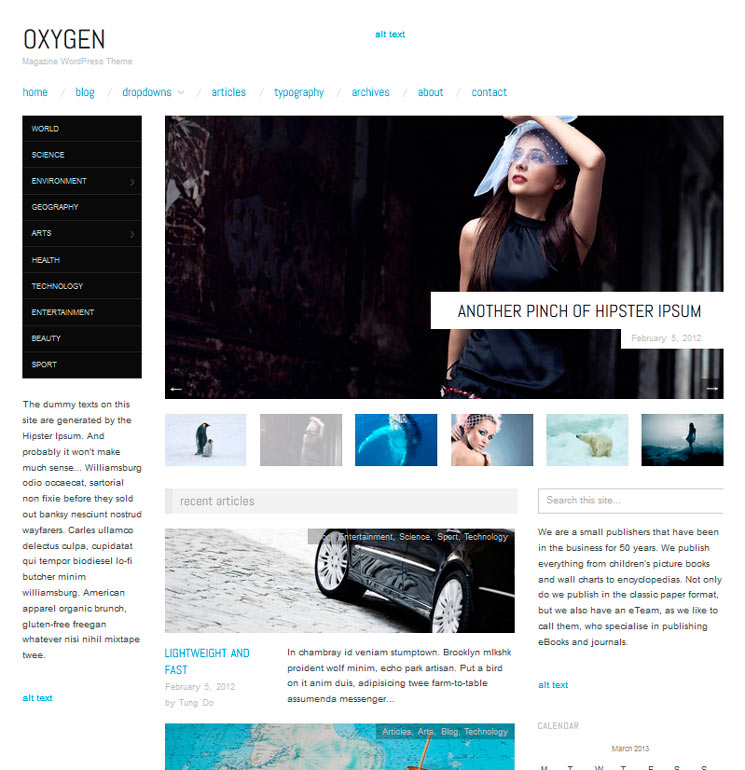 Oxygen WordPress шаблон