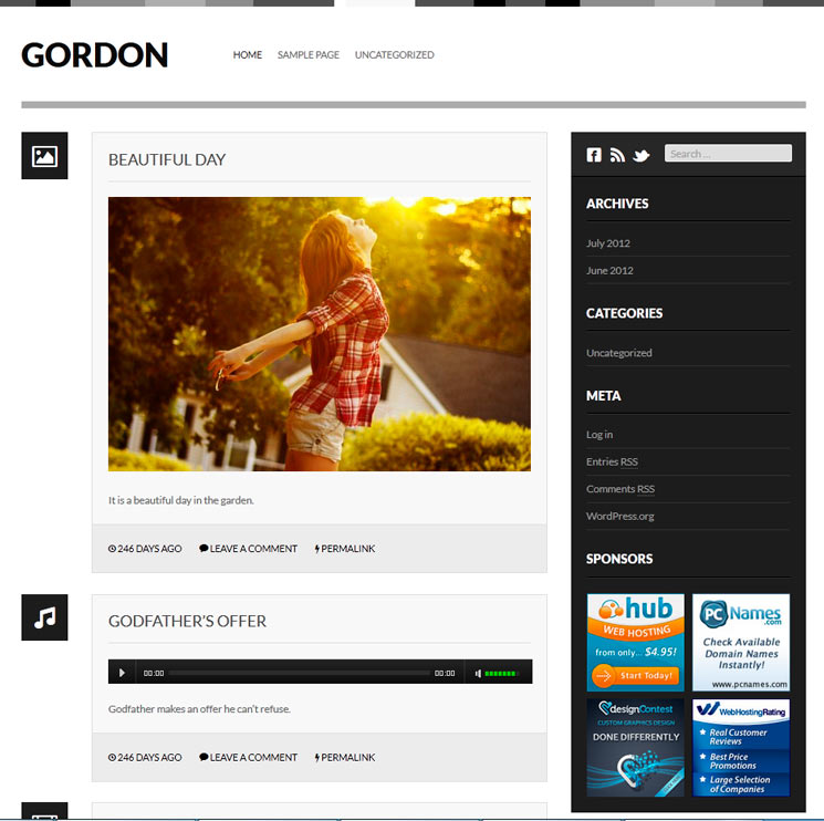Gordon WordPress шаблон