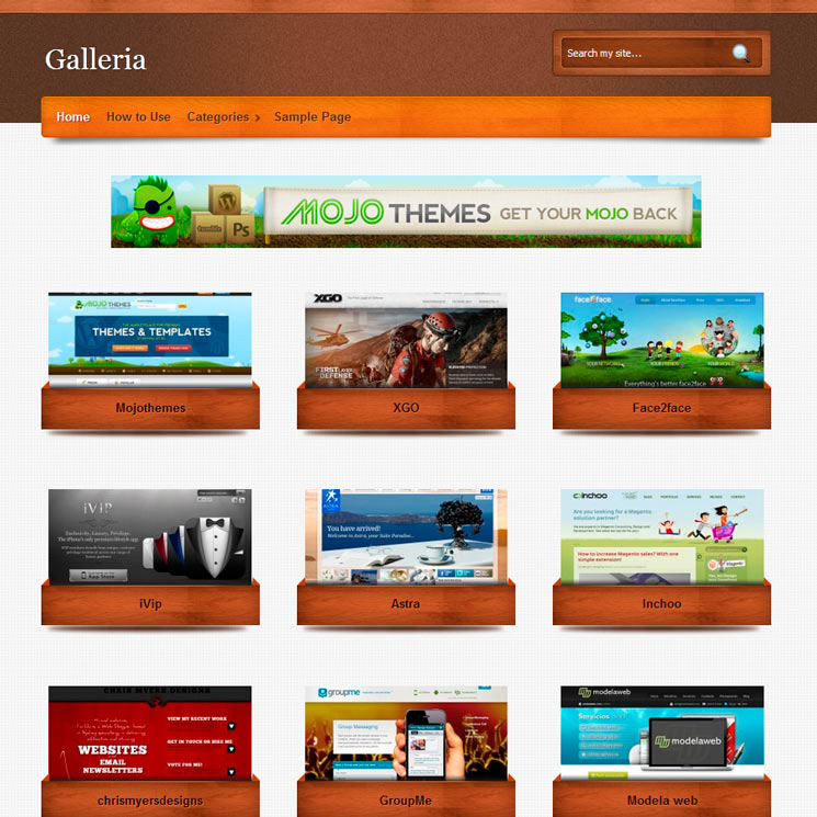 Galleria WordPress шаблон