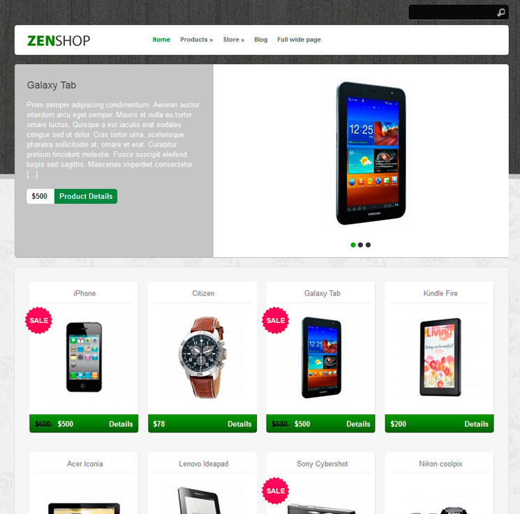 Zenshop WordPress шаблон