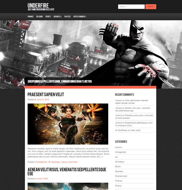 Underfire WordPress шаблон