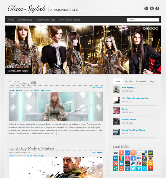 Clean Stylish WordPress шаблон