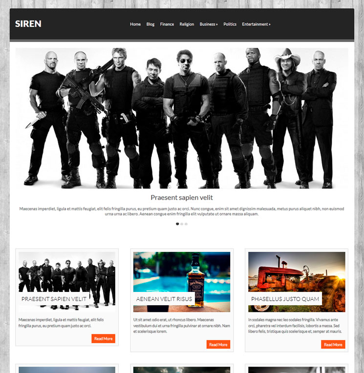 Siren WordPress шаблон