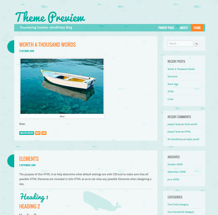 Something Fishy WordPress шаблон