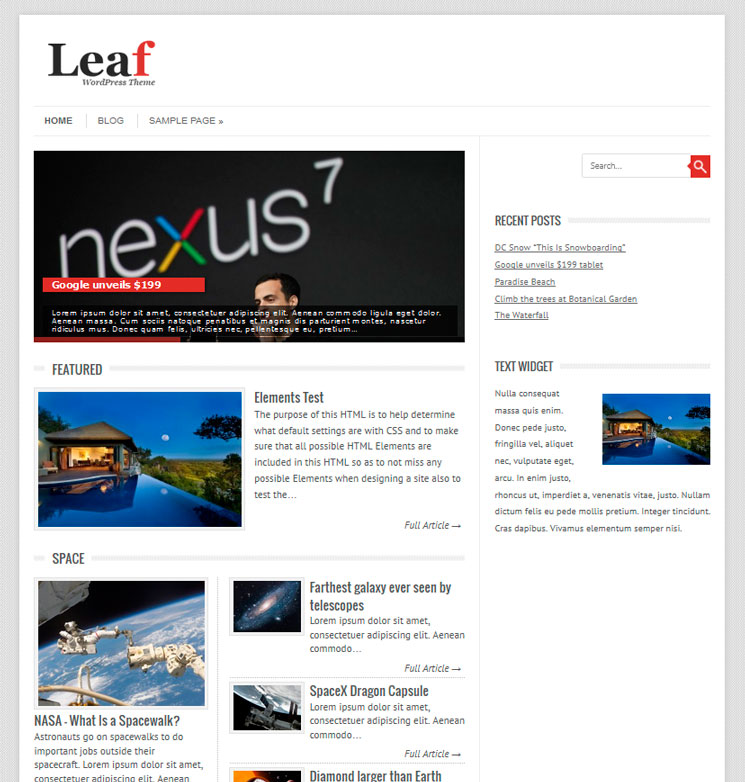 Leaf WordPress шаблон