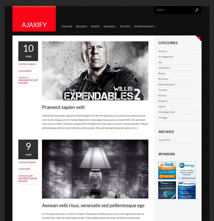 Ajaxify WordPress шаблон