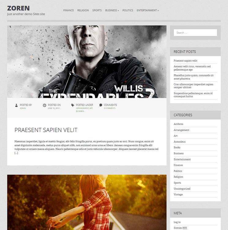 Zoren WordPress шаблон