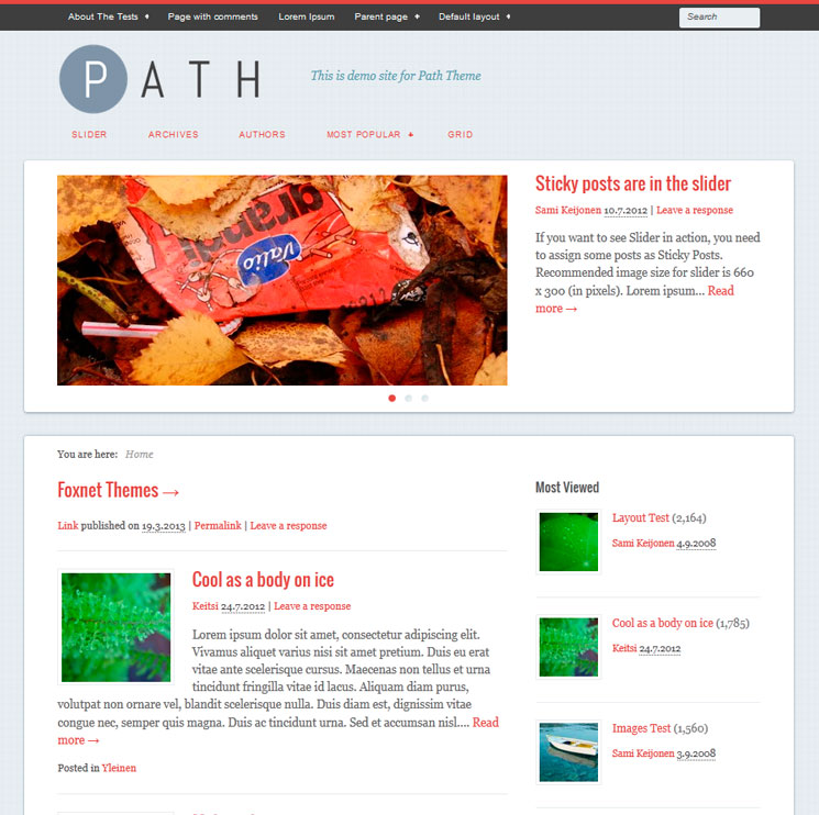 Path WordPress шаблон