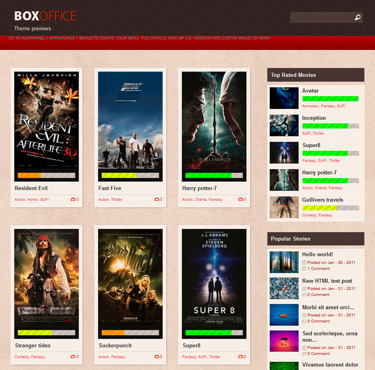 Boxoffice WordPress шаблон