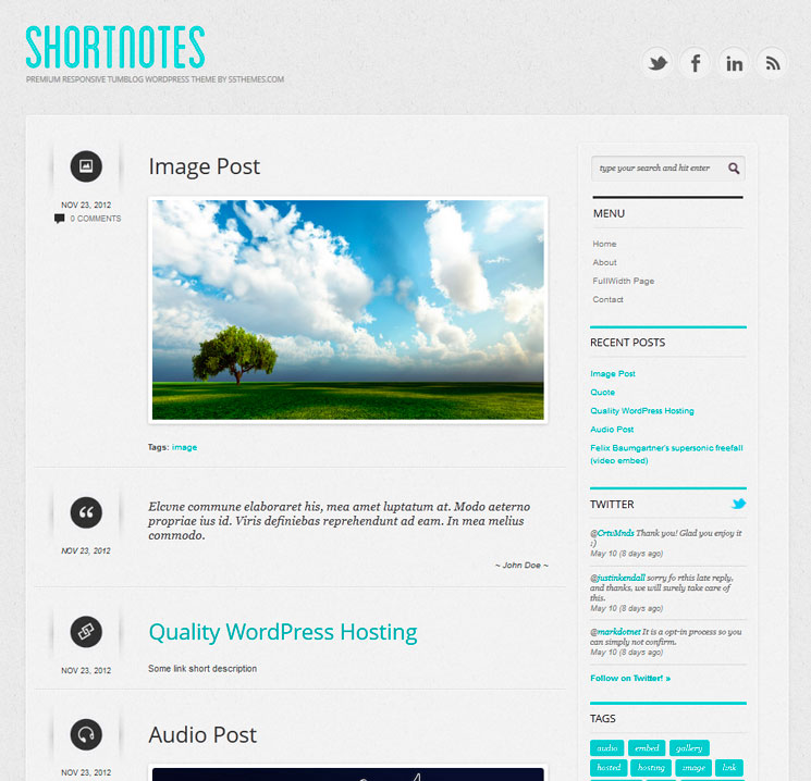 Shortnotes WordPress шаблон