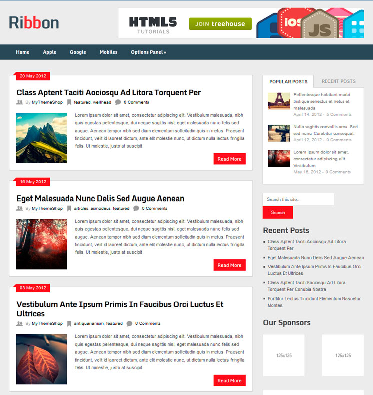 Ribbon WordPress шаблон