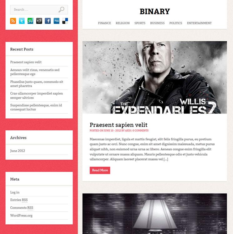 Binary WordPress шаблон