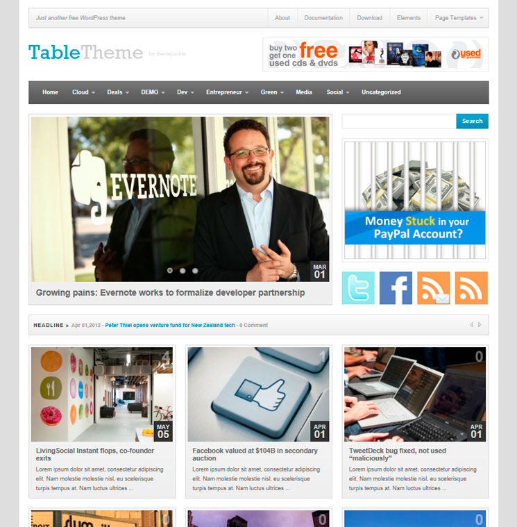 Table WordPress шаблон