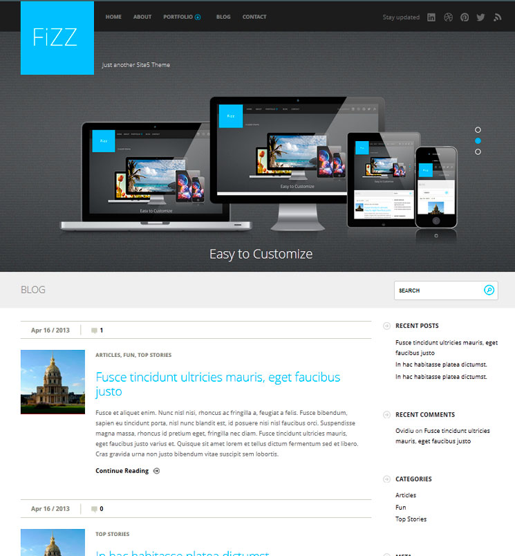 Fizz WordPress шаблон