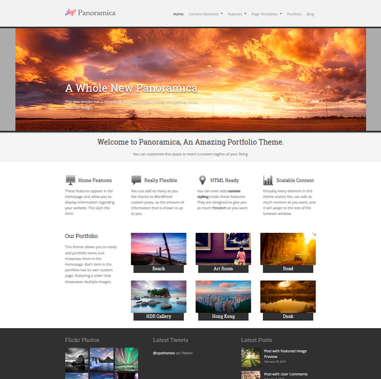 Panoramica WordPress шаблон