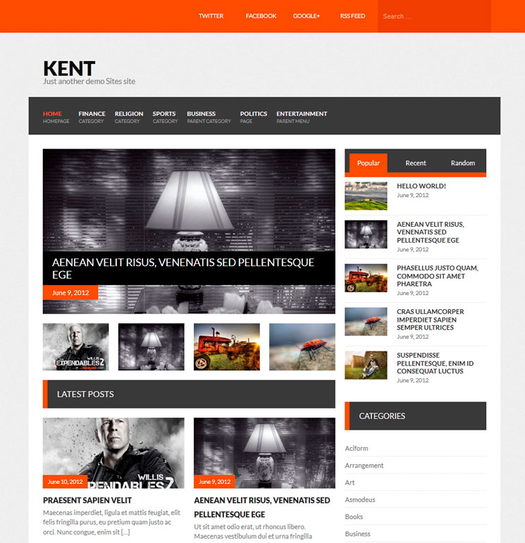 Kent WordPress шаблон