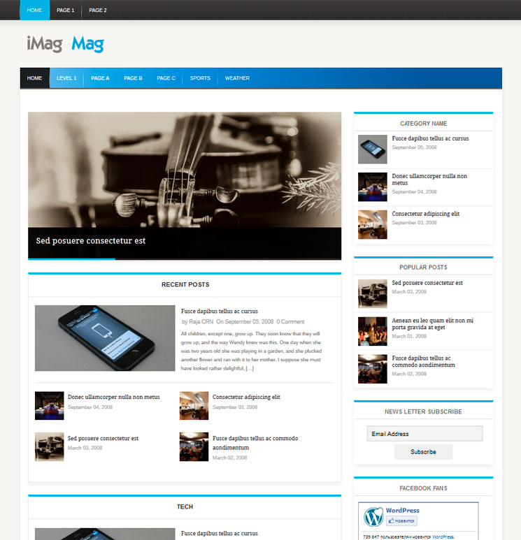 iMag Mag WordPress шаблон