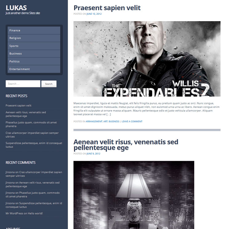 Lukas WordPress шаблон