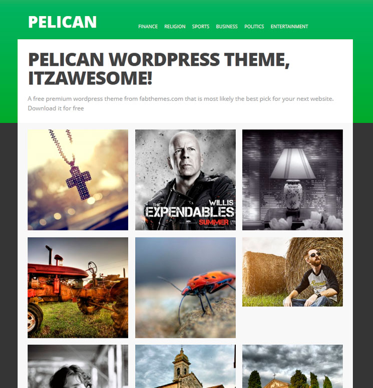 Pelican WordPress шаблон