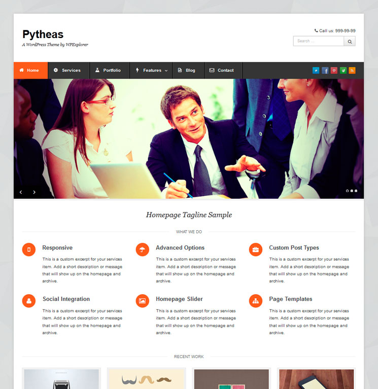 Pytheas WordPress шаблон