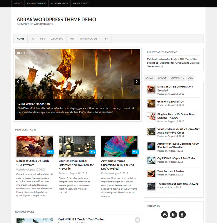 Project AR2 WordPress шаблон