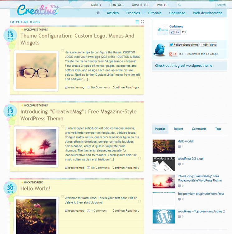 CreativeMag WordPress шаблон