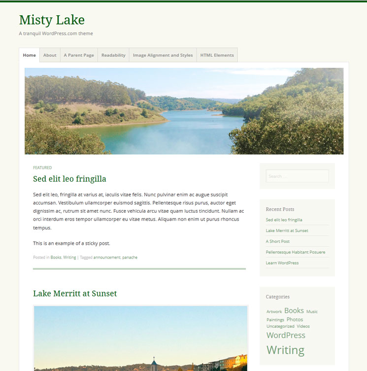 Misty Lake WordPress шаблон