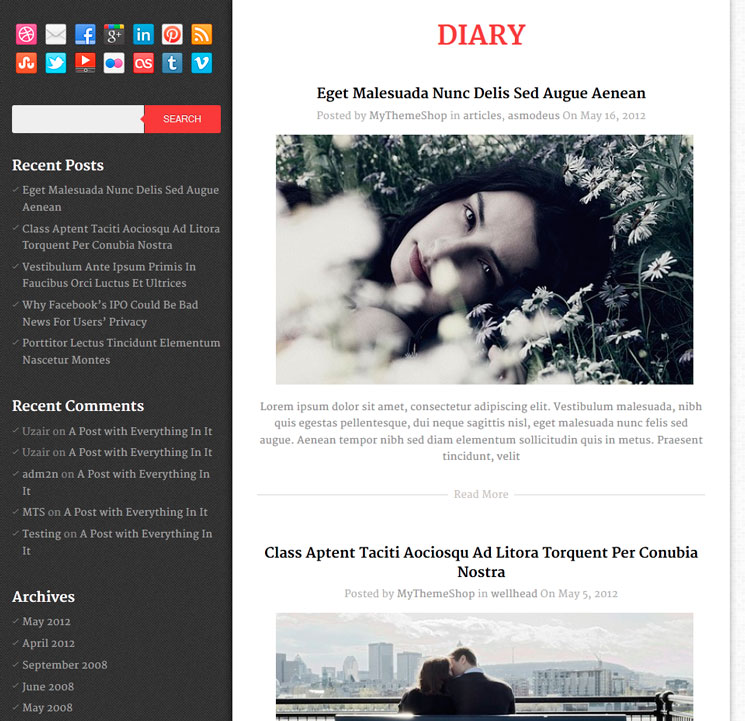 Diary WordPress шаблон