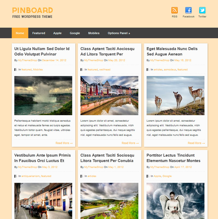 Pinboard WordPress шаблон