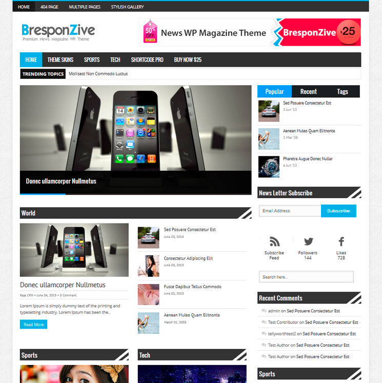 Bresponzive WordPress шаблон
