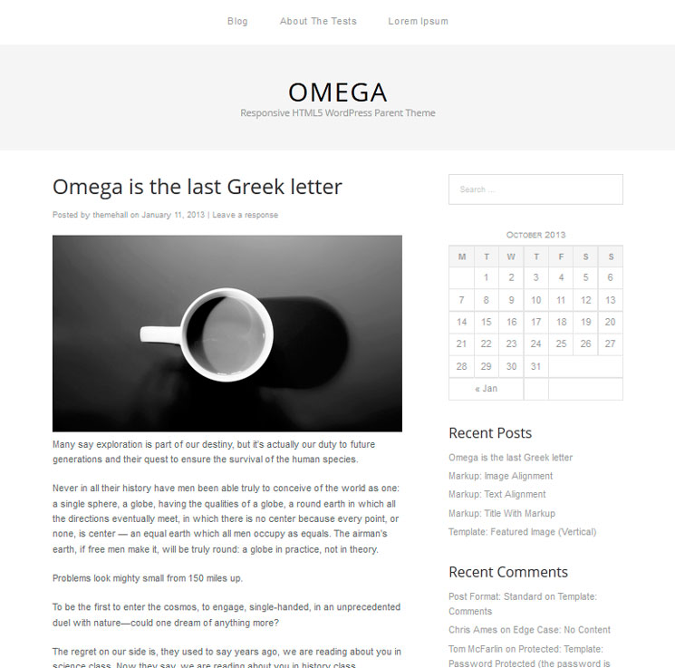 Omega WordPress шаблон