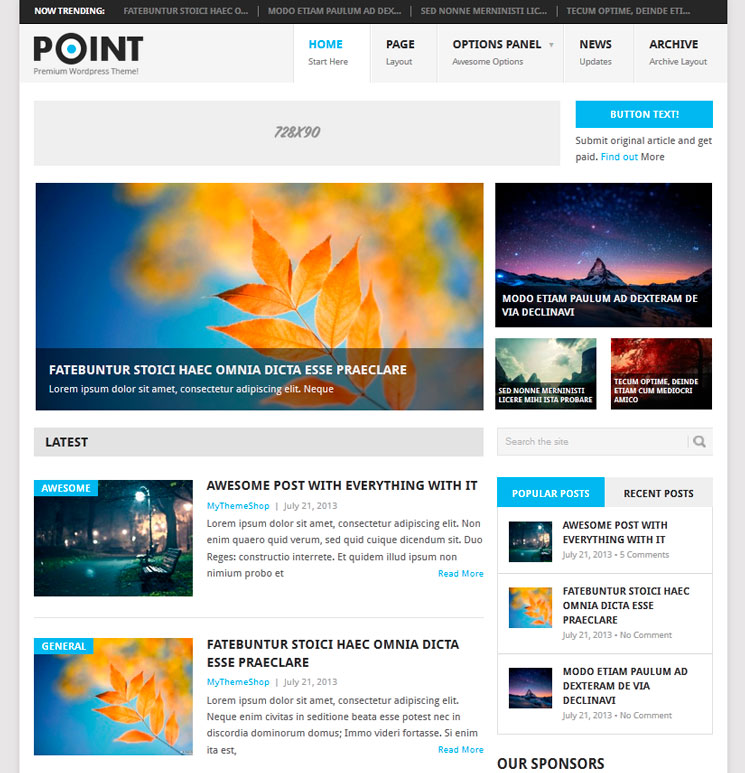 Point WordPress шаблон