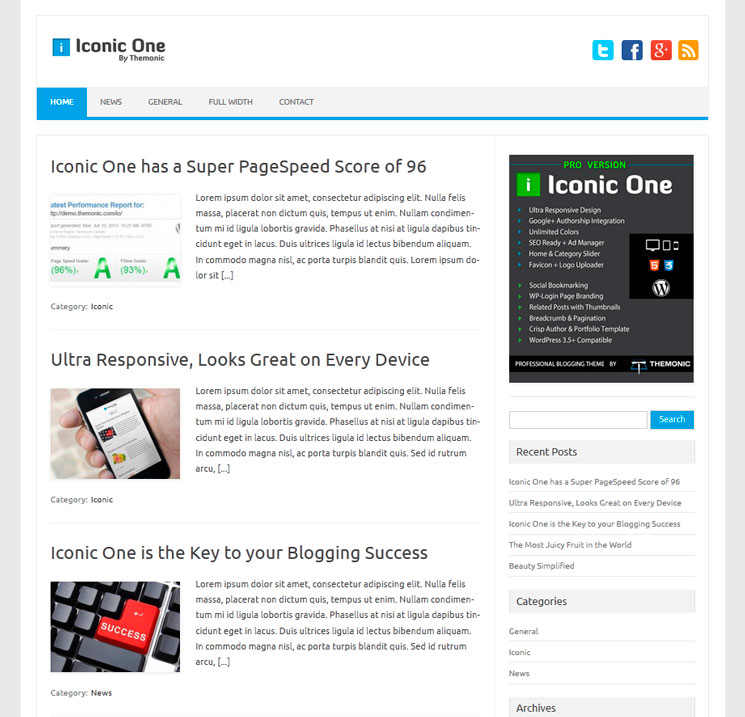 Iconic One WordPress шаблон