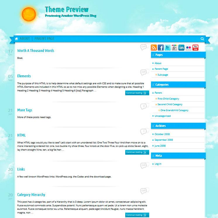 Sunny Blue Sky WordPress шаблон
