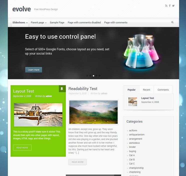 Evolve WordPress шаблон