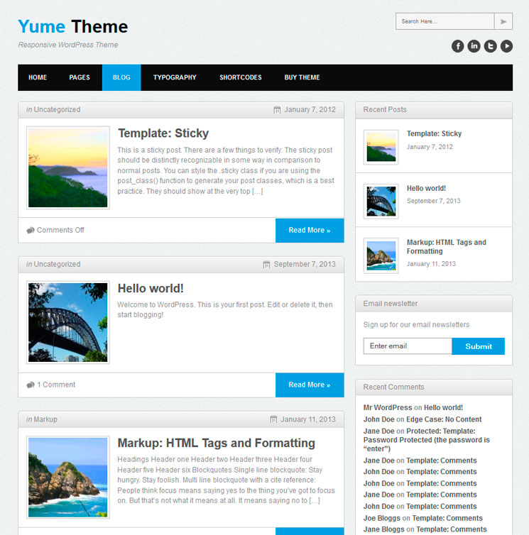 Yume Free WordPress шаблон