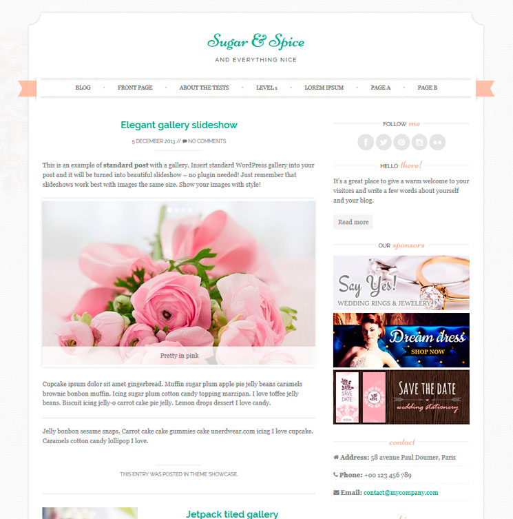 Sugar & Spice WordPress шаблон