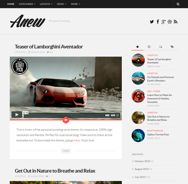 Anew WordPress шаблон