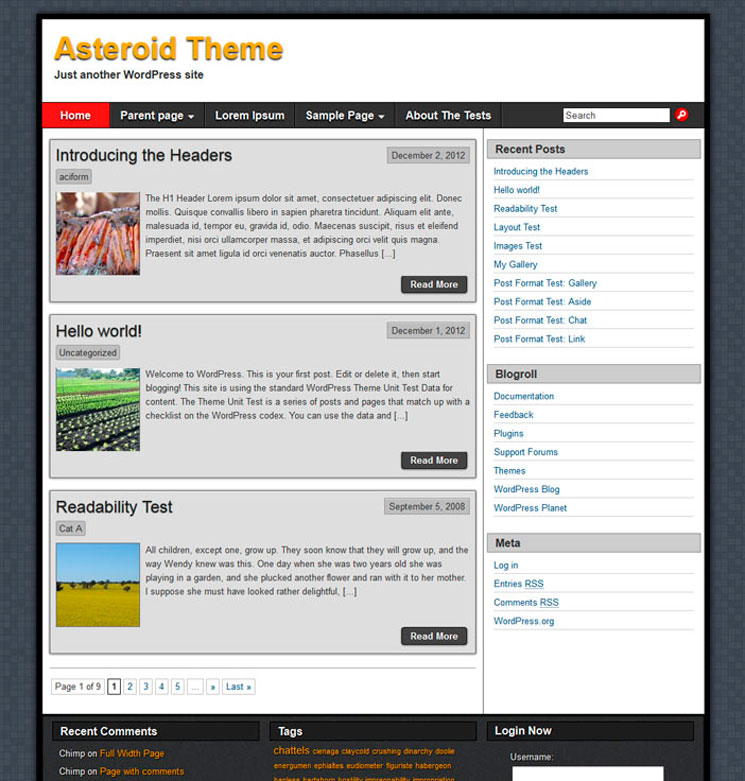 Asteroid WordPress шаблон