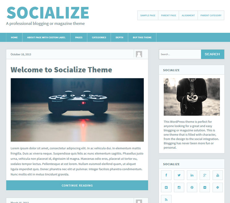 Socialize Lite WordPress шаблон